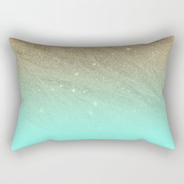 Elegant gold faux glitter chic teal gradient  trendy pattern Rectangular Pillow