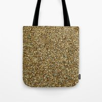 gold glitter Tote Bags featuring Gold Glitter by Katieb1013
