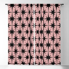 Atomic Age 1950s Retro Starburst Pattern in Black and 50s Dusty Blush Pink Blackout Curtain