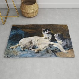 Cat Mother With Two Kittens - Julius Anton Adam Rug