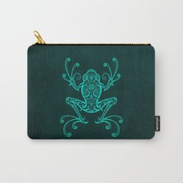 Intricate Teal Blue Tree Frog Carry-All Pouch