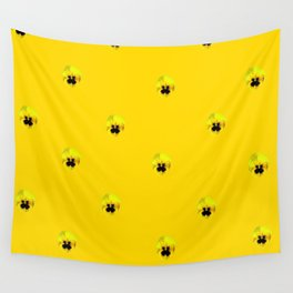 YELLOW  PANSY FLOWERS SPRINKLES GOLDEN YELLOW Wall Tapestry