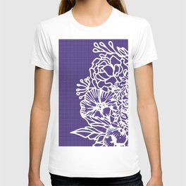 White Flowery Linocut Wreath On Checked UltraViolet T-shirt