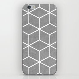 Light Grey and White - Geometric Textured Cube Design iPhone Skin