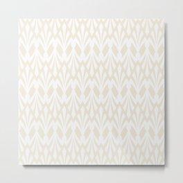 Decorative Plumes - White on Cream Metal Print