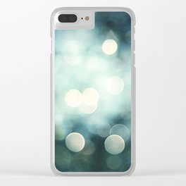 Teal Abstract Sparkle Photography, Turquoise Sparkly Lights Photo, Aqua Bokeh Print Clear iPhone Case