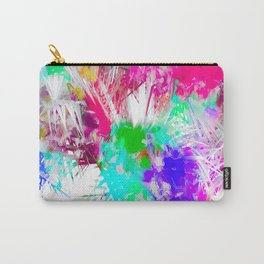 palm leaf with colorful painting abstract background in pink blue green purple Carry-All Pouch