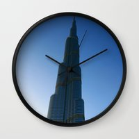 wiz khalifa Wall Clocks featuring Dubai - Burj Al Khalifa by gdesai