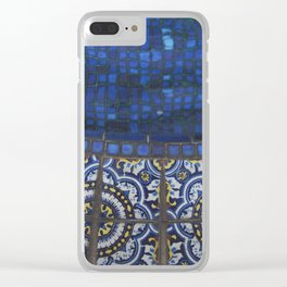 Blue Tile Clear iPhone Case