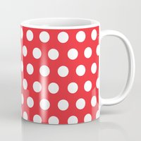 minnie mouse Mugs featuring Minnie Mouse Dots | Red by DisPrints