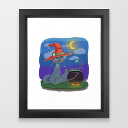 Little Cat Witch Framed Art Print