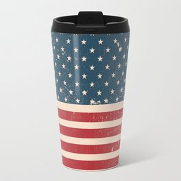 Vintage Distressed American Flag Travel Mug