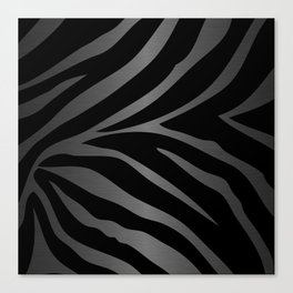 Black & Gray Metallic Zebra Print Canvas Print