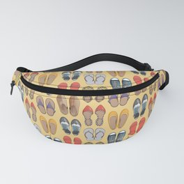 Hard choice // shoes on yellow background Fanny Pack