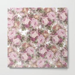 Vintage blush pink burgundy roses floral painting Metal Print