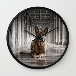 A German Shepherd in Venice Wall Clock
