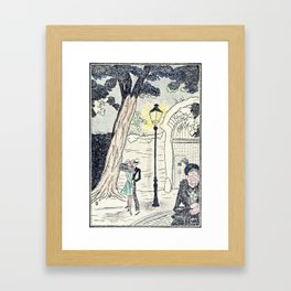 Young Lovers Caught Under the Street Lamp Hand Colored Vintage Erotica Framed Art Print