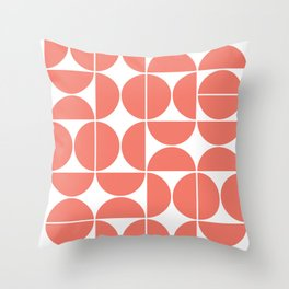 Mid Century Modern Geometric 04 Living Coral Throw Pillow