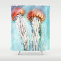 jelly fish Shower Curtains featuring Jelly Fish  by Felicia Cirstea