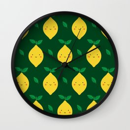 Cute Kawaii Lemon Pattern (green) Wall Clock