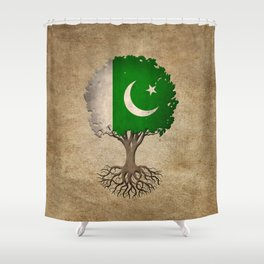 Vintage Tree of Life with Flag of Pakistan Shower Curtain