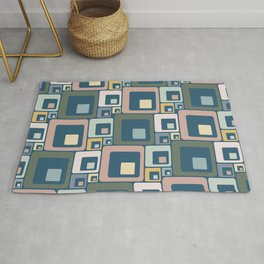 Retro Geometric Squares in Muted Jewel Tones Pink Green Blue Yellow Rug