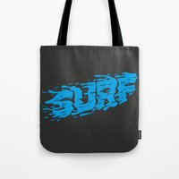 surf Tote Bags featuring SURF by Some Kid Chris