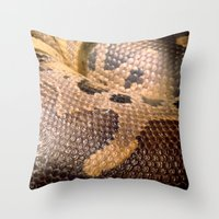 anaconda Throw Pillows featuring Anaconda by theGalary