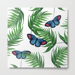 Green tropical leafs and blue butterflies pattern Metal Print