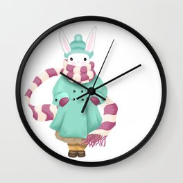 Bunny Sister Out On a Winter Day Wall Clock