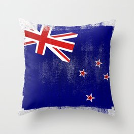 New Zealand Distressed Halftone Denim Flag Throw Pillow