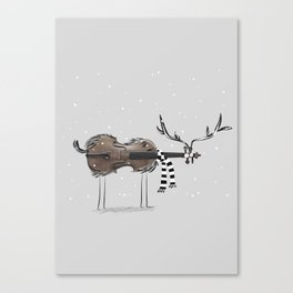Christmas Violin Reindeer Canvas Print