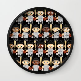 Baseball Black and White - Super cute sports stars Wall Clock