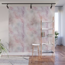 Mauve pink lilac white watercolor paint splatters Wall Mural