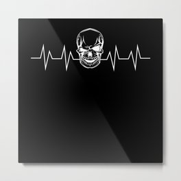 Skull Heartbeat Pulse Gift Metal Print