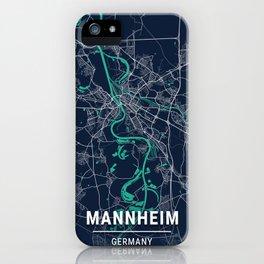 Mannheim Blue Dark Color City Map iPhone Case