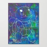 squirtle Canvas Prints featuring Squirtle by pkarnold + The Cult Print Shop