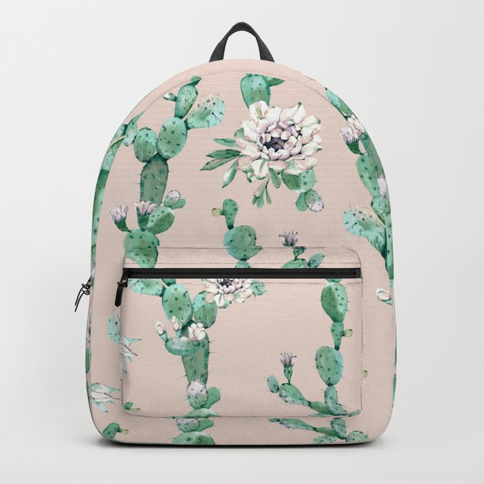 Green Coral Pink Cactus Rose Pattern Backpack