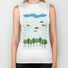 Birds in the rain. Biker Tank