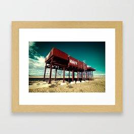 the red tank in the desert Framed Art Print