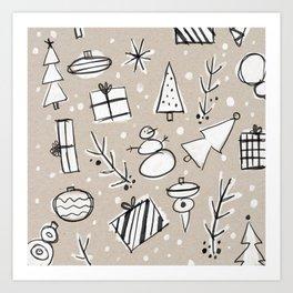 Christmas White and Kraft Sketches Art Print