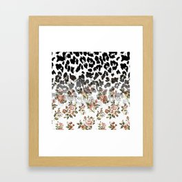 Abstract black white brown floral animal print Framed Art Print