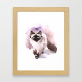 Watercolor Siamese Cat Framed Art Print