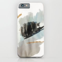 From a Distance - a minimal acrylic and ink abstract piece in blue, black, and tan iPhone Case