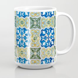 Seamless Floral Pattern Ornamental Tile Design : 6  blue, yellow Coffee Mug