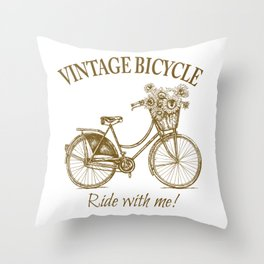 Vintage Bicycle With Sunflower Basket Throw Pillow
