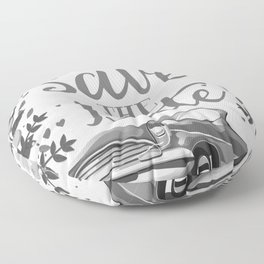 Save the Date vintage car ink art Floor Pillow