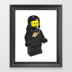 Vintage Lego Black Spaceman Minifig Framed Art Print