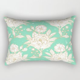stylish golden and mint floral strokes design Rectangular Pillow