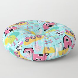 Farm Life Pink Pastel Barn Animals Pattern Floor Pillow